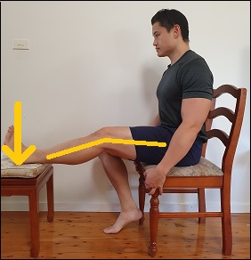 hamstring activation with leg extended in sitting position